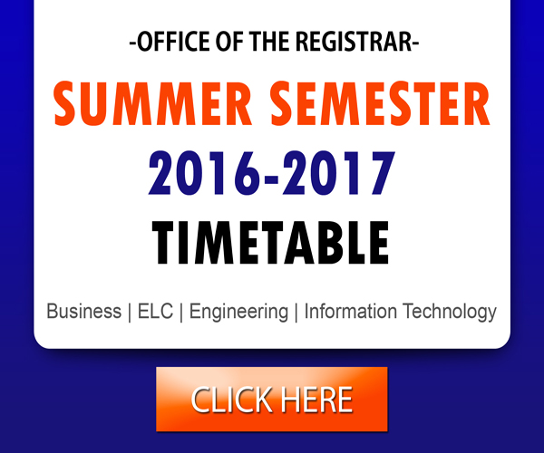 Summer Semester 2017 Time table